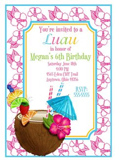 Luau Invitations , Coconut,  Hawaiian Luau, Personalized Invitations,Tropical Drink, Summer, Pool Party, Beach, Tropical, Birthday,. $1.59, via Etsy.