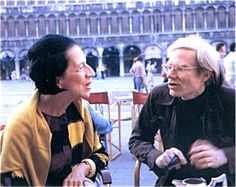 Diana Vreeland and Andy Warhol in Piazza San Marco in Venice, Summer 1973.  From the book by Eleanor Dwight, Diana Vreeland, New York, Harper Collins, 2002.