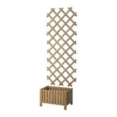 ASKHOLMEN, Flower box with trellis, outdoor, gray-brown stained