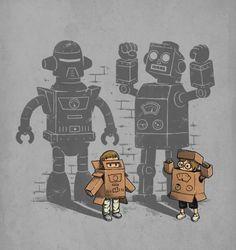 imagination cration illustrateur ben6835 aprendre chambre dessins enfants rtro robots illustrations ben6835 cadeaux - Affiche Garcon Robot
