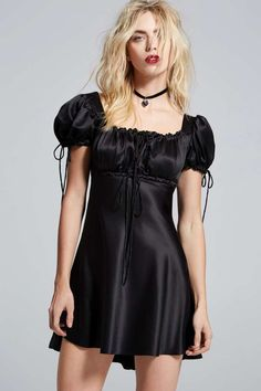 Love, Courtney by Nasty Gal Doll Parts Satin Babydoll - Black - Clothes | Going Out | LBD | Solid | Lingerie Accessories | Dresses | Lingerie