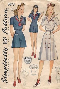 Vintage 1940's Sewing Pattern WW2 Sailor Collar Playsuit nautical High waist B36 #Simplicity