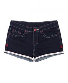 Dark Blue Turned-over Rim Denim Shorts