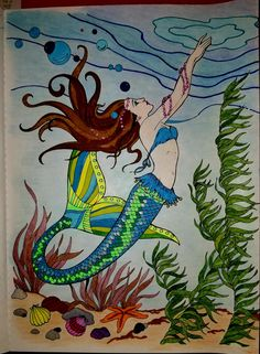 colored with gel pens and color pencils Mermaid Coloring Book, Coloring Book Art, Mermaid Artwork, Mermaid Pictures, Dover Publications, Gel Pens, Colored Pencils, Moose Art, Mermaids
