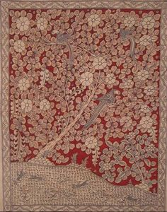 Tree of Life panel Kalamkari' painting - hand painted with natural vegetable dyes, India.