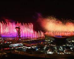 Fireworks are set off around the Olympic Stadium