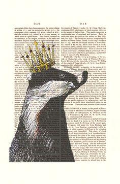 Badger King Acrylic Art Original Painting Print Mixed by FabFunky, $10.00
