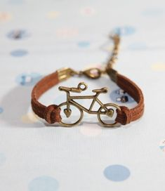 Bicycle bracelet   Bronze Bicycle with brown by diychenmade, $1.66