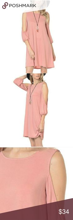 Dusty Rose Cutout dress Dusty Rose Cutout dress. Soft, feminine, and sexy. 65% modal/35%polyester. Sizes: Small (6-8), Medium  (8-10), Large (10-12), XLARGE (14-6). NWOT. Boutique so price is firm unless bundled. Bellino Clothing Dresses Midi