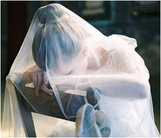 Sheer wedding veil | Image by Alexander James Photography, read more http://www.frenchweddingstyle.com/forgotten-ballerina-wedding-inspiration/
