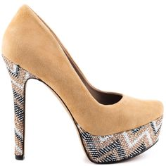 Earn your fashion credentials in this stunner from Jessica Simpson. Waleo brings you a soft and beautiful nude suede upper and a picture perfect almond shaped toe.  A metallic chevron print on the 5 1/4 inch heel and 1 1/4 inch platform complete this fashionable pump.