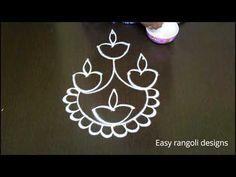Deepam rangoli Designs with dots * kolam designs for Diwali 2017 * simple deepam rangavali - YouTube