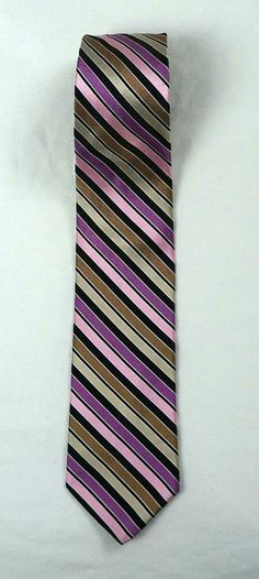 """Ted Baker London Striped 60"""" Neck Tie 100% Silk Hand Made in USA #TedBaker #Tie Tie Quilt, Scarf Belt, Craft Free, Jacquard Weave, Color Stripes, Men's Accessories, Silk Ties, Ted Baker, London"""