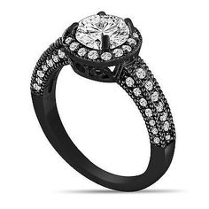 14K BLACK GOLD DIAMOND ENGAGEMENT RING 1.53 CARAT VINTAGE STYLE HALO PAVE SET
