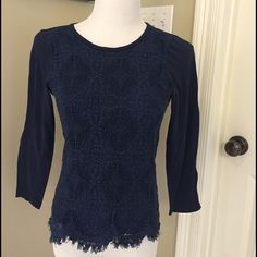 J. Crew crochet front navy tee J. Crew navy tee with a crochet lace front. Three quarter length sleeves, cotton, raw hemline. I bought this top on Posh--it is preloved, but it's got lots of wear left. Tagged medium, fits like a small. J. Crew Tops