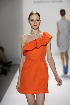 one shoulder short orange bridesmaid dresses  Orange Dress #2dayslook #watsonlucy723 #OrangeDress  www.2dayslook.com