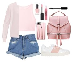"""Casual Pink"" by wolfiexo ❤ liked on Polyvore featuring Victoria's Secret, Ted Baker, Valentino, Maybelline, Deborah Lippmann, Casetify, Charlotte Russe, Pink, denim and shorts"