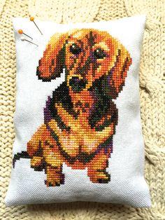 Vintage Dachshund Decor Pillow Cross Stitch Sausage Dog Liberty of London Fabric