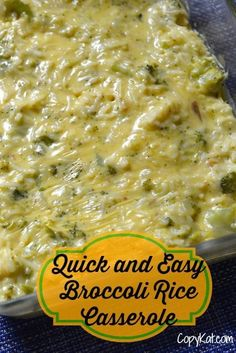 Make some quick and easy broccoli rice casserole, one person said they had to make this one again and again for their family.   #casserole recipe from CopyKat.com