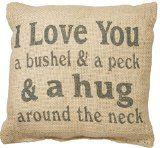 http://ift.tt/1YCtLFt I Love You a Bushel & a Peck & a Hug Around the Neck Burlap Pillow
