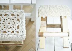 Tabouret crochet, Woodwoolstool
