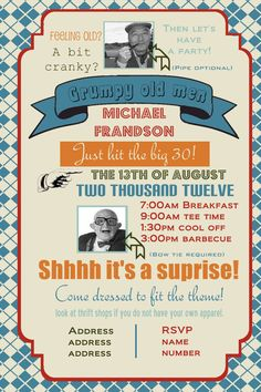 Grumpy old men birthday party invitation you print by yellowlemons, $14.00