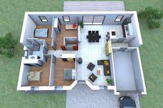 Un plan 3D de maison 4 chambres originale avec une forme en V qu ...