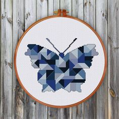 Geometric Butterfly cross stitch pattern decor by ThuHaDesign