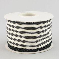 """2.5"""" Ticking Stripe Ribbon: Black & Cream (10 Yards)"""