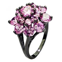 Pink Sapphire Lady's 10KT Black Gold Filled Ring For Women Flower Finger Rings Fashion Jewelry Size 6/7/8/9/10 E2437 441-in Rings from Jewelry on Aliexpress.com | Alibaba Group