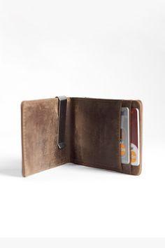 Minimalist Wallet - Vintage Brown.  Dark wood. 50.