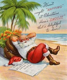 Tropical Santa Christmas Card