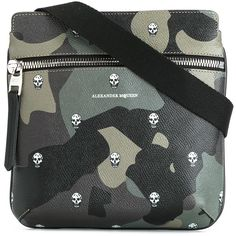 Alexander McQueen camouflage print messenger bag ($845) ❤ liked on Polyvore featuring men's fashion, men's bags, men's messenger bags, green, mens messenger bags, mens courier bag and mens leather messenger bag