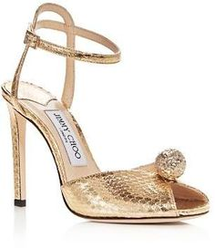 0fefc42d61c Jimmy Choo Women s Sacora 100 Snake-Embossed Embellished Leather High-Heel  Sandals. Fits true to size