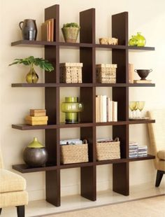 I like this idea because it feels open and shelves provide the option to hold a variety of decor