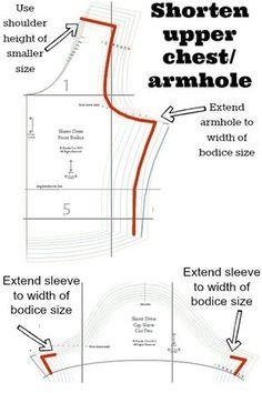 sewing tutorials \ fitting \ adjustment \ shorten upper chest armhole