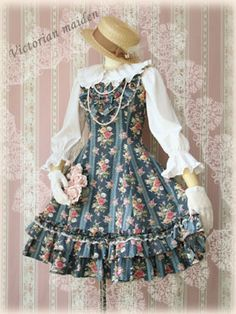 Victorian Maiden Pintuck Frill JSK in sapphire - Jumperskirt - Lace Market: Lolita Fashion Sales and Auctions
