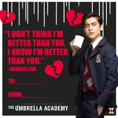 Day frases The Umbrella Academy: Valentines fr Super-Messed-Up-Lieben,Valentineamp; Day frases The Umbrella Academy: Valentines fr Super-Messed-Up-Lieben, Netflix Series, Tv Series, Cole Sprouse, Funny Memes, Hilarious, Under My Umbrella, Umbrella Art, First Love, My Love
