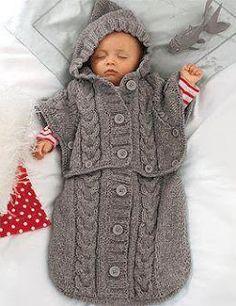 çok güzel bir battaniye Baby Knitting Patterns, Knitting For Kids, Baby Patterns, Crochet Patterns, Poncho Patterns, Baby Sleeping Bag Pattern, Chunky Babies, Baby Cocoon, Hooded Poncho