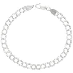 Sterling Silver Double Link Charm Bracelet Anklet Necklace 5.3 mm light Nickel Free Italy, 7-16 inch >>> Want additional info? Click on the image.