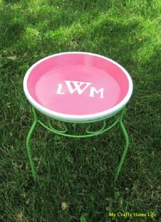 Monogram cocktail table for the garden