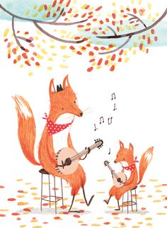Foxes playing the banjo, illustration, Rachel Stubbs Art And Illustration, Fuchs Illustration, Illustrations And Posters, Children's Book Illustration, Character Illustration, Friendly Fox, Fox Art, Cute Fox, Whimsical Art