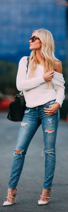 Shredded denim with off the shoulder crochet sweater and studded heels