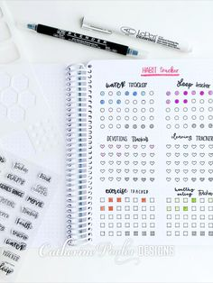 Lots of ways to use this Habit Tracker stamp set for Bullet Journaling. Lots of ways to use this Habit Tracker stamp set for Bullet Journaling. Bullet Journal Tracker, April Bullet Journal, Bullet Journal Notebook, Bullet Journal School, Bullet Journal Themes, Bullet Journal Spread, Bullet Journal Inspiration, Journal Ideas, Arc Notebook