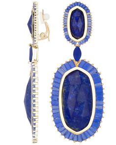 Kendra Scott lapis and glass clip-ons