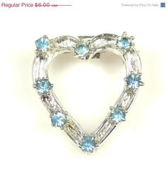 Vintage Pale Blue Rhinestone Heart Shaped Pin Brooch #vintage #etsyretwt