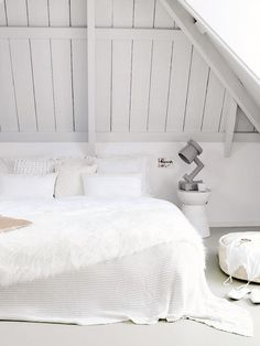 An oversized blanket that reaches to the floor is a super - easy way to make your space look more polished. Hate Making Your Bed? Try One of These 7 Styles via @mydomaine