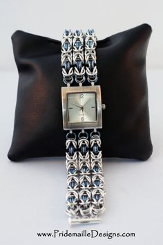 Denim Blue Byzantine #Watch - Niobium and Aluminum #Chainmaille #jewelry-making