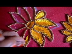Dear Friends, 💘💘 Welcome to 🌺 Nakshatra Designers. 🌼🌼 How to make pavadai sattai in aari embroidery design & more tips. Embroidery Online, Hand Embroidery Videos, Bead Embroidery Patterns, Embroidery Works, Flower Embroidery Designs, Simple Embroidery, Hand Embroidery Stitches, Beaded Embroidery, Hand Work Blouse Design