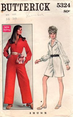 19d9cd87c879 Butterick 5324 Womens Zip Front Jumpsuit 60s Vintage Sewing Pattern Size 18  Bust 38 Inches